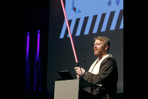 Mayor of Reykjavik Jón Gnarr dressed as Obi Wan Kenobi on opening night